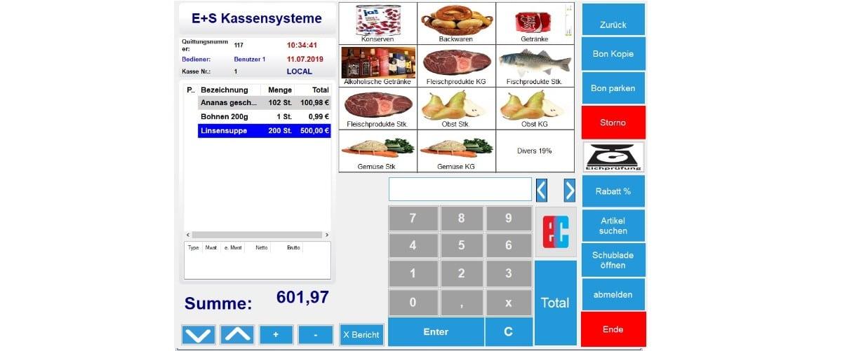 Kassen Lebensmittel mit PTB Waagenschnittstelle