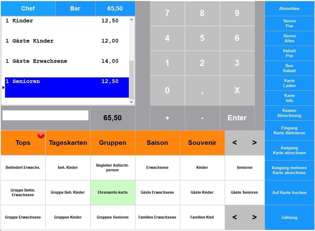 Software Ticket, Ticketkasse, Eintrittskartenverkauf