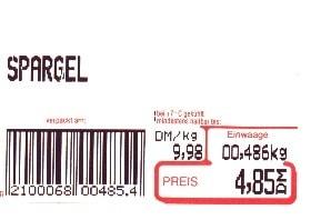 Etikett mit Waagenbarcode