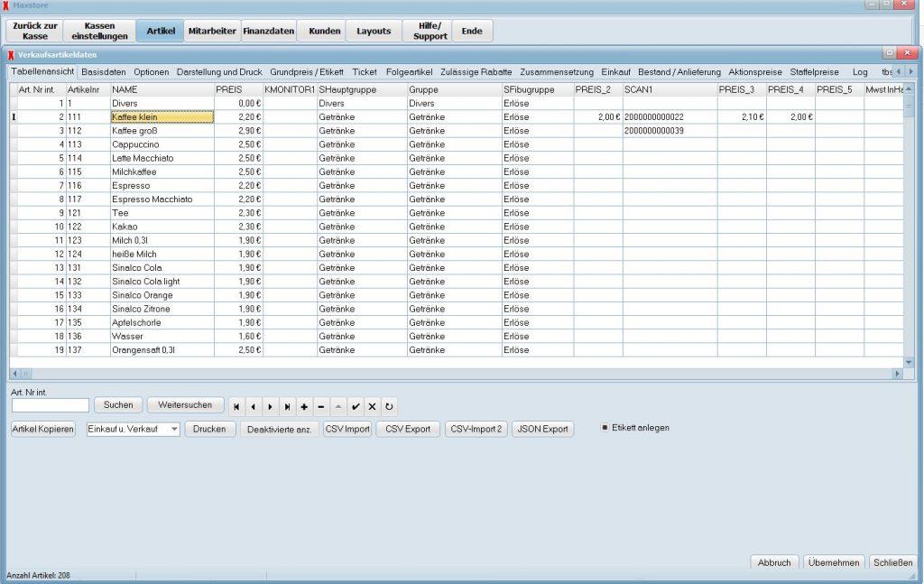 Handbuch zur Stammdatenpflege der Maxstore Kassensoftware - Artikelanlage, Warengruppen, Anzeigebutton und Etikette