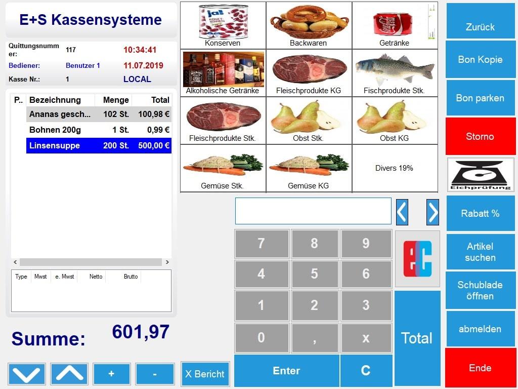 Kassensoftware mit Waagenschnittstelle für Lebensmittel, Supermarkt