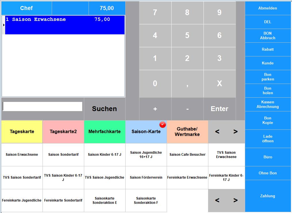 Kassensoftware Saisonkarte kassieren