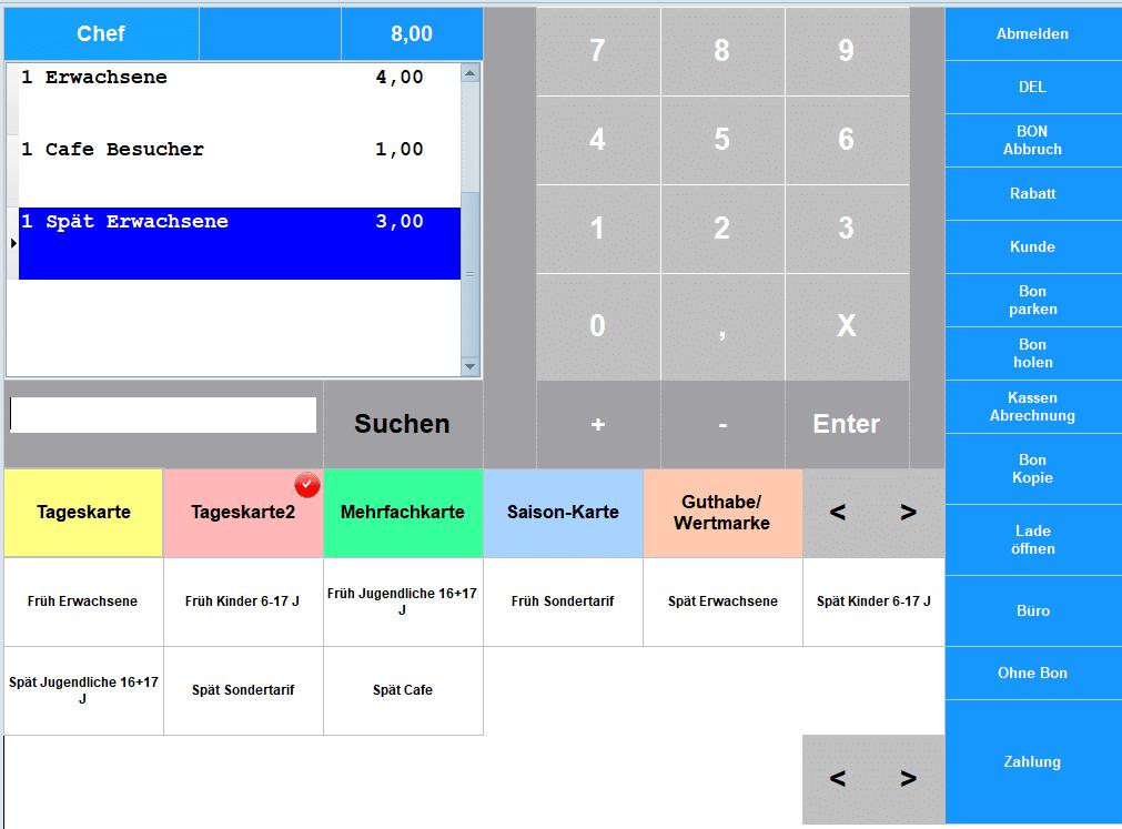 Kassensoftware Ticket kassieren