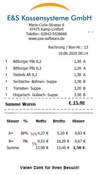 Kassensoftware Gastronomie bon mwst