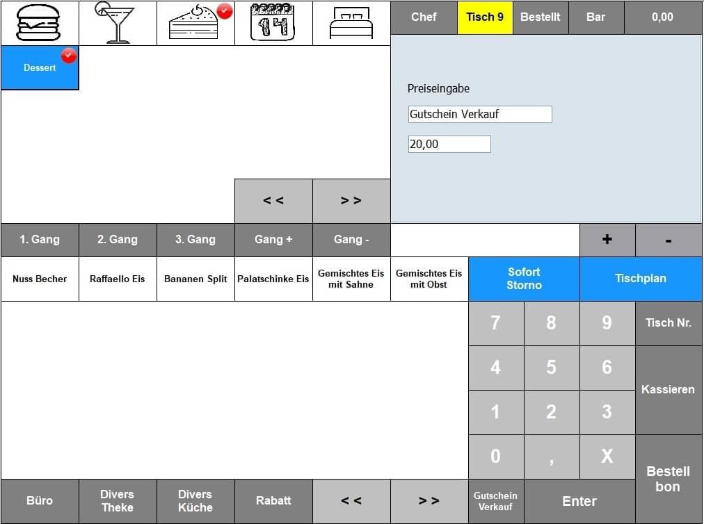 Kassensysteme, Kassensoftware Gastronomie